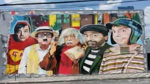 Grafite dos personagens de Roberto Bolaños / Foto: Ana Paula Reis