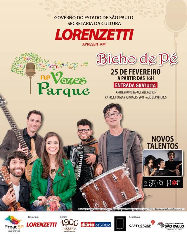 Banda Bicho de Pé e trio Sinhá Flor se apresentam no Festival Vozes no Parque
