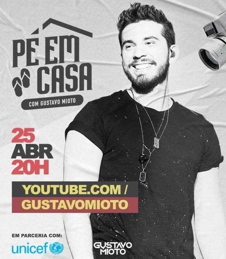 Gustavo Mioto anuncia live para o dia 25 de abril em parceria com a UNICEF
